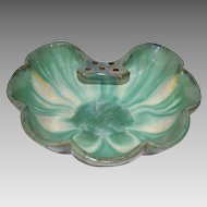 """Gorgeous FULPER Pottery Large Shell Form Bowl with Attached """"Tab"""" Frog - shape 508 - Fulper Pottery Flemington New Jersey 1922-1928"""