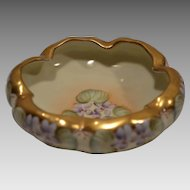 Gorgeous Porcelain  Footed Dish ~ Hand Painted with Violets  By Kriesche ~ Pickard Decorating Studios Chicago IL / Crown Vienna Austria 1903-1905