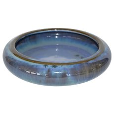 Beautiful Fulper LOW FLOWER BOWL Chinese Blue Crystalline Glaze ~ Fulper Pottery Flemington, New Jersey 1922-1928