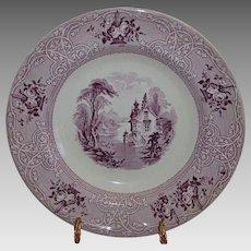 "Large 11"" Ironstone Bowl Purple Transfer ~ Roselle Pattern ~ Meir & Son ~Tunstall Staffordshire England 8/26/1848"