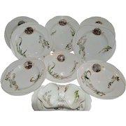 Set of 8 French Bowls and Gravy Boat ~ Limoges Porcelain~ Basket Weave Embossed ~ Haviland & Co Limoges France 1876-1882.