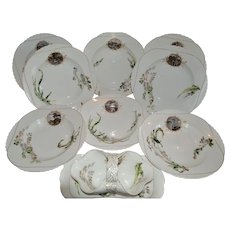 Set of 8 French Bowls and Sauce Boat ~ Limoges Porcelain~ Basket Weave Embossed ~ Haviland & Co Limoges France 1876-1882.