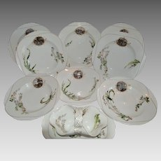 Set of 8 French Bowls and Sauce Boat ~ Limoges Porcelain~ Basket Weave Embossed ~ Haviland & Co Limoges France 1876-1882.
