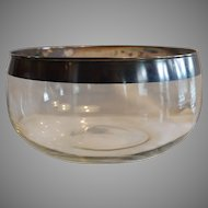 Large Punch, Salad, or Snack Bowl ~ Silver Rimmed Mid Century 1950's
