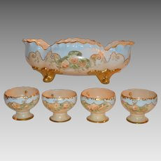 RARE & UNIQUE Citrus Bowl with 4 Hooked Cups ~ Hand Painted with Yellow Roses ~ Artist Initialed ~ Bavaria early 1900's