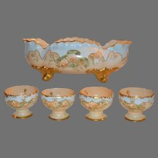 Porcelain Citrus Bowl  & 4 Hooked Cups   RARE & UNIQUE  Yellow Roses  Artist Initialed  Bavaria early 1900's