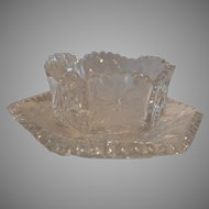 Mayonnaise and Under Plate American Brilliant ABP ~ Marked P&B ~ Pitkin & Brooks Chicago IL 1904-1920