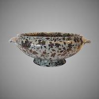 Serving Bowl ~ Mintons Pearlware ~2-Handled ~ Black Floral ~ Dorset Pattern ~ Mintons 1878
