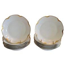 12 Porcelain Coupe Bowls ~ Silver Anniversary Pattern Schleiger #19 ~ Gold Accents~ Haviland & Co Limoges France 1894+