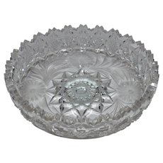 Dish/ Bowl with Bachelor Buttons ~ Cut Glass  ~ ABP American Brilliant Period 1876-1917