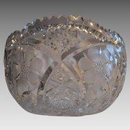 Cut Glass Salad / Fruit Bowl ~ ABP ~ Shirley Pattern ~ Meriden Cut Glass Co 1918