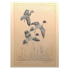 """Original etching of Pintail Ducks signed by Richard E Bishop, titled """" Drifting On"""" circa 1941."""
