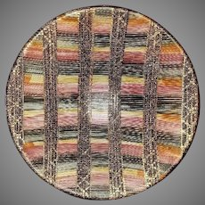 "Wonderful Bitossi Ceramic 12"" bowl. Aldo Londi's ""Seta"" pattern in Magenta. Mid-Century Modern, 1960's."
