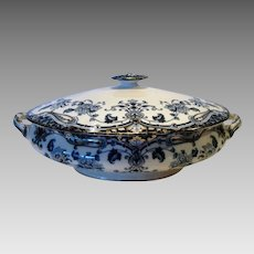 Awesome Semi-Porcelain English Covered Serving Dish ~ Dark Blue & White Floral, Scrolls~ Nelson Pattern ~ Grimwades Ltd Upper Hanley England 1906-1911