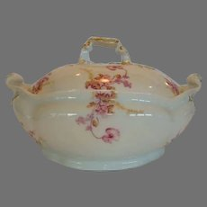 Awesome Covered Dish ~ Limoges Porcelain ~ Factory Decorated with Magenta Flowers ~ Jean Pouyat Limoges France 1890-1932