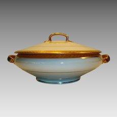 Beautiful Bavarian Porcelain Covered 1 Quart Dish ~ White with Encrusted Gold Laurel Leaf Rims ~ Hutschenreuther Selb Bavaria  1955-1969