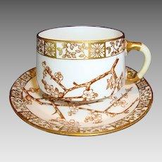 Attractive 127 Yr Old English Porcelain Cup & Saucer ~ Thorn pattern ~ Edwin James Drew Bodley Burslem England 2/ /1883