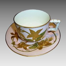 Attractive 124 Yr Old English Porcelain Cup & Saucer ~ Gold Embossed Bamboo Leaves on Pink Ground~ Edwin James Drew Bodley Burslem England  9/11/1886