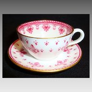 Delicate Miniature Bone China English Cup and Saucer ~ Red Fleur de leis ~ Spode England 1950's