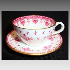 Delicate Miniature Bone China English Cup and Saucer ~ Red Fleur de leis ~ Spode England 1950's