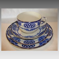 Beautiful English Earthenware 4 Piece Cup & Saucer Set ~ York Pattern ~ Cobalt Blue Hearts, Flowers Leaves ~ Keeling & Co Burlsem England 1891-1909