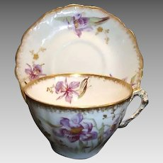 Gorgeous Limoges Cup and Saucer ~ Porcelain ~ Hand Painted with Purple Japanese Iris or Orchids ~ George Borgfeldt Coronet / A. Lanternier Limoges France 1891-1920