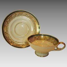 Elegant German Porcelain Demitasse Cup and Saucer Set ~ Gold Lace with Steel Blue Band ~  TIRSCHENREUTH PORCELAIN Germany