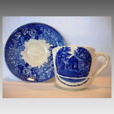Commemorate Old English Staffordshire Ware ~Blue Transferware Cup with the Washington's Headquarters ,Valley Forge PA. ~ William Adams Stoke on Trent  / Jonroth  Early 1900's