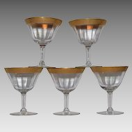 Set of 5 VTG Tiffin Rambler Rose Franciscan Optic Wine Glasses
