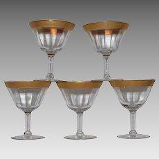 Set of 5 VTG Tiffin Rambler Rose Franciscan Optic Wine Glasses