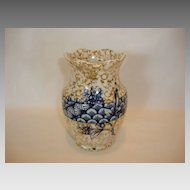 Beautiful Earthenware Brush Cup / Vase~ Decorated with Blue Flowers & Shell Designs ~ Grafton Pattern ~ Ridgways Staffordshire Stoke on Trent ~ England 1880-1912