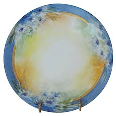 Outstanding Limoges Porcelain Cabinet Plate ~ Hand Painted ~ Blue Rim and Flowers ~Artist Signed~ JPL Jean Pouyat ~1890-1932