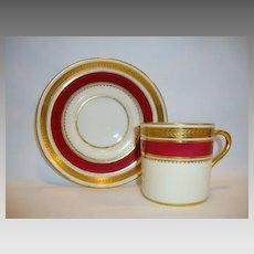 Regal English Demitasse Cup and Saucer ~ English Bone China ~ Embossed Laurel Band ~ Regency Pattern 7347~ Aynsley Bone China England ~ 1934 - 1939