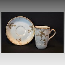 Wonderful Tall Demitasse Cup and Saucer ~ Limoges Porcelain ~  Hand Painted White with Gold Embossed Design ~ A K Lanternier ~ Limoges, France circa1891-1912
