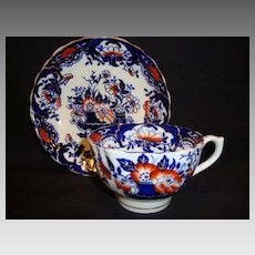 Brightly Imari / Gaudy Welsh Colored English Cup and Saucer ~ England 1895