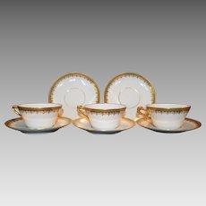 Fine Set Of 3 Gold Encrusted Tea Cups  & Saucers– Latrille Freres / PM Mavaleix Limoges Frances 1908-1913