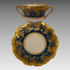 REDUCED!! Exquisite Bouillon Cup & Saucer ~  Limoges Porcelain ~ Double Handled  ~Teal & Gold Embellished ~ Coiffe Limoges France 1876 -1890