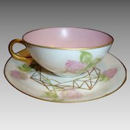 Delicate Egg Shell Porcelain Cup and Saucer ~ Hand Painted with Soft Pink Clovers with Gold Spider Webs ~ Jean Pouyat Limoges France 1890-1932