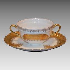6 Bouillon Cup and Saucer Sets ~ Limoges Porcelain ~  White  with Gold Encrusted Design  ~ Haviland Limoges / Jean Pouyat  Limoges France 1894-1931