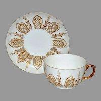 Fantastic Cup & Saucer Set ~ Limoges Porcelain ~ Raised Gold Paste and Enamel Flowers ~ Delinieres & Co Limoges France 1890-1900