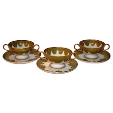 3 Gorgeous Sets of Limoges Porcelain Footed Bouillon / Soup Cups and Saucers   ~ Green & Gold Designs ~ Haviland & Co Limoges France 1894-1931 for Koch & Braunstein Cincinnati OH