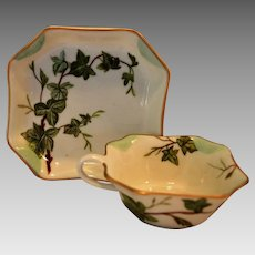 Exquisite Cup and Saucer Set ~ Limoges Porcelain ~ Hand Painted with Green Ivy ~ Haviland & Co Limoges France 1886-1889
