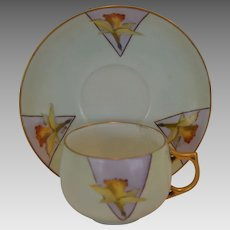 Wonderful Bavarian Porcelain Cup and Saucer with Hand Painted Yellow Daffodils – J& C Bavaria / George H Bowman Co Cleveland OH 1890-1940