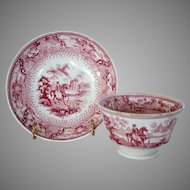 Amazing Handle less  Cup and Saucer  with  Equestrian / Horse Motif  ~ Red / Pink Transferware ~ ARABIAN ~ Francis Dillon Cobridge Staffordshire 1830-1843