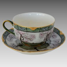 Gorgeous Limoges Porcelain Cup and Saucer Set ~ Hand Painted with Trees ~ Haviland France 1893-1931