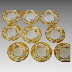 Set of 9 Mintons Bouillon Cups and Saucers ~ Exquisitely  Decorated with  Gold & Enamel Paste ~ Mintons Stoke on Trent, Staffordshire England 1890-1920  for Davis Collamore Fifth Ave New York 1890-1920