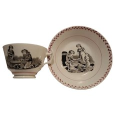 Adorable Cup and Saucer ~ Polychrome ~ Children, Dog  and Angel Transfer~ Late 1800's