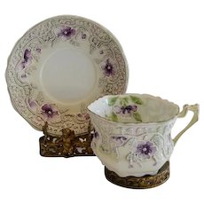 Nippon Cup and Saucer ~ Violet Flowers with Moriage