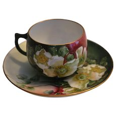 Beautiful Cup and Saucer ~ Bavarian Porcelain ~ Hand painted with White Roses ~ by   E. Kaltenbach ~ Rosenthal Bavaria early 1900's
