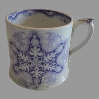 Earthenware Mug / Cup with Purple Snowflake Transfer 1800's